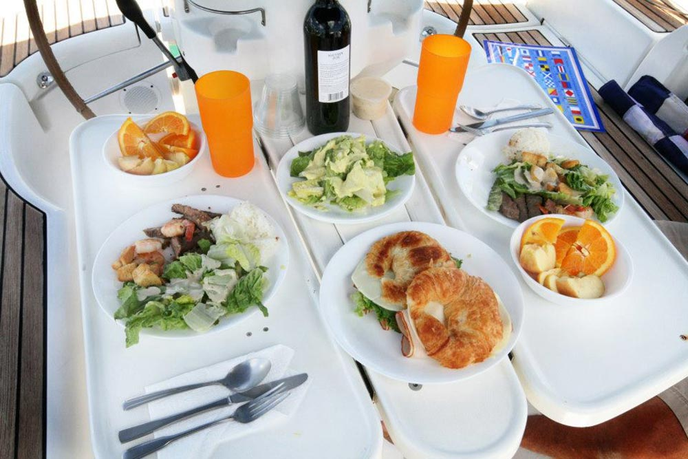 Lunch on sailing boat on oahu