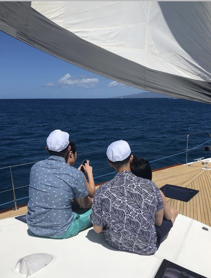 Friends at yacht rental companies