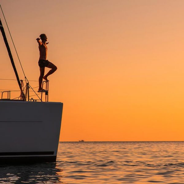 Young man at hawaii sunset cruise oahu